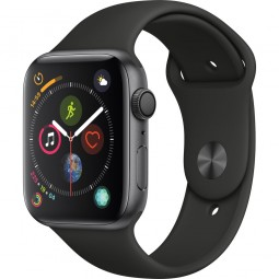 Apple Watch 44mm Series 4 GPS Space Gray Aluminum Case with Black sport Band (MU6D2)