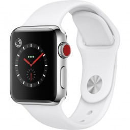 Apple Watch 38mm Series 3 GPS+Cellular Stainless Steel Case with Soft White Sport Band (MQJV2)