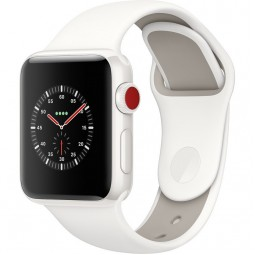 Apple Watch Edition 38mm Series 3 GPS+Cellular White Ceramic Case with Soft White/Pebble Sport Band (MQJY2, MQM32)