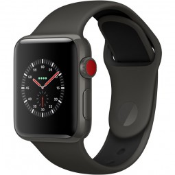 Apple Watch Edition 38mm Series 3 GPS+Cellular Gray Ceramic Case with Gray/Black Sport Band (MQK02)