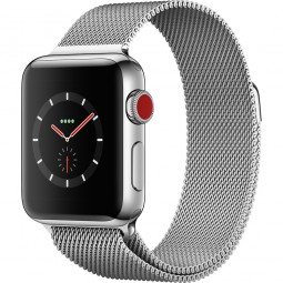 Apple Watch 38mm Series 3 GPS+Cellular Stainless Steel Case with Milanese Loop (MR1F2)