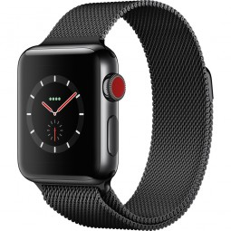 Apple Watch 38mm Series 3 GPS+Cellular Space Black Stainless Steel Case with Space Black Milanese Loop (MR1H2)