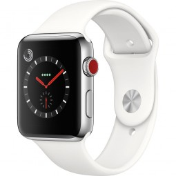 Apple Watch 42mm Series 3 GPS+Cellular Stainless Steel Case with Soft White Sport Band (MQK82)