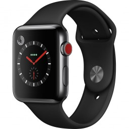 Apple Watch 42mm Series 3 GPS+Cellular Space Black Stainless Steel Case with Black Sport Band (MQK92)