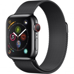 Apple Watch 40mm Series 4 GPS+Cellular Space Black Stainless Steel Case with Space Black Milanese Band (MTUQ2)