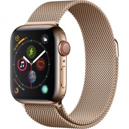 Apple Watch 40mm Series 4 GPS+Cellular Gold Stainless Steel Case with Gold Milanese Band (MTUT2)