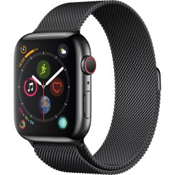 Apple Watch 44mm Series 4 GPS+Cellular Space Black Stainless Steel Case with Space Black Milanese Band (MTV62)