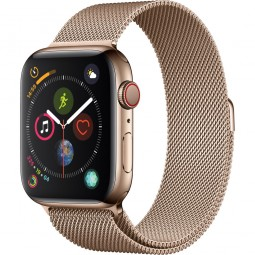 Apple Watch 44mm Series 4 GPS+Cellular Gold Stainless Steel Case with Gold Milanese Band (MTV82)